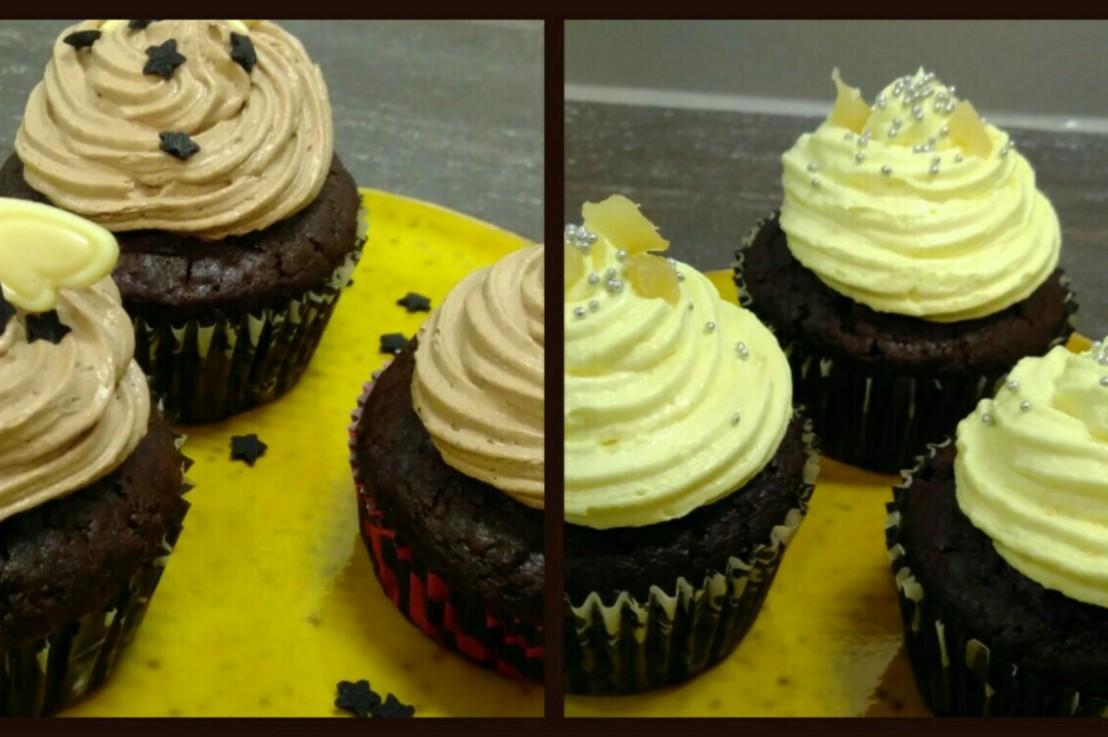 Schoko Cupcakes mit 2 Toppings(vegan)