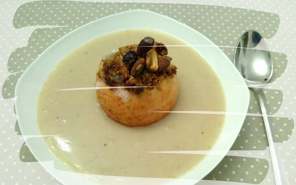 >Bratapfel mit Vanillesauce (vegan)<