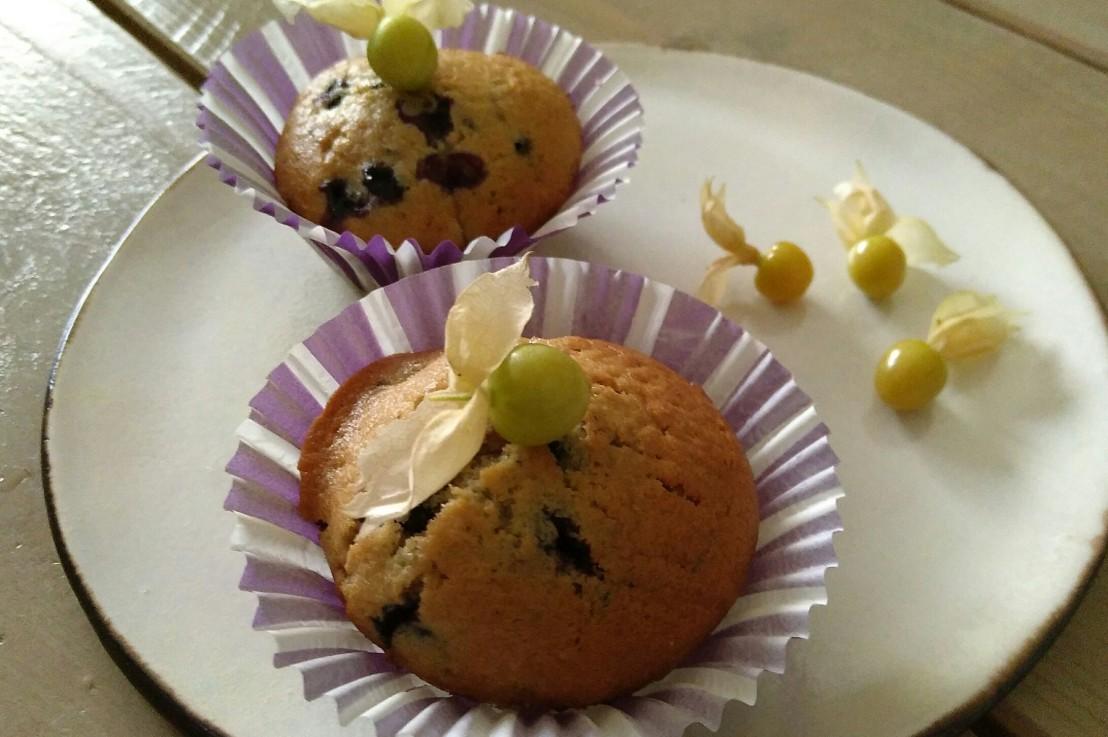 ∆ Muffins mit schwarzen Ribiseln & Physalis∆